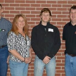 Donovan Buss and his parents, Bryan and Diane (at left), met with Brad Ramsdale, NCTA agronomy professor, during a campus visit. Buss graduated in May from York High with a college certificate. (NCTA Photo)