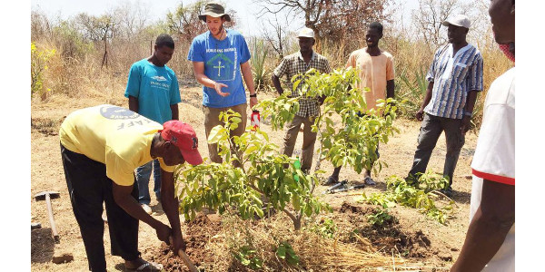 Peace Corps volunteer and NC State graduate Jack Alcorn (third from left) offers agroforestry training to farmers in Senegal. (Courtesy of NC State University)