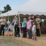 Saying the pledge before dinner at Cherokee Ranch. (Courtesy of Colorado Farm Bureau)