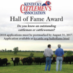 Five people are inducted each year into the KCA Hall of Fame, with one inductee being from each of the Kentucky Cattlemen's Association Membership Regions.