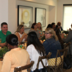 Andrew Roselius, a soybean farmer and Illinois Soybean Association Soy Ambassador from Onarga, Illinois, talks with dinner guests about life on the farm during a soy-inspired farm-to-table dinner at the Museum of Science and Industry Smart Home on Aug. 16. (Courtesy of Illinois Soybean Association)