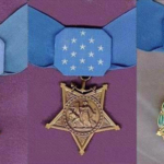 The Medals of Honor awarded by each of the three branches of the U.S. military, and are, from left to right, the Army, Coast Guard/Navy/Marine Corps and Air Force.