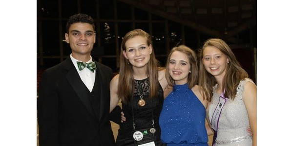 Guilford County 4-H'er is elected Reporter of NC State 4-H Council Erin Dillon is pictured (L:R) with Anthony Vagnozzi (President), Nicole Worth (Vice-President), Joah Bickley (Secretary-Treasurer), and Dillon. (Courtesy of NC Cooperative Extension)