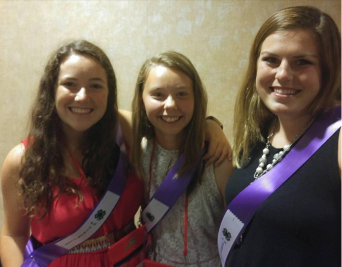 Guilford County 4-H'ers tapped into the NC 4-H Honor Club Elizabeth (Betsy) Dean, Erin Dillon, and Kate Hice were tapped into NC 4-H Honor Club on Saturday night.
