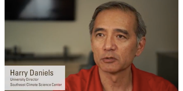 """""""Our goal is to continue to provide natural resource managers with the information they need to make informed decisions,"""" said NC State's Harry Daniels, the new university director of the Southeast CSC. (Screenshot from video)"""
