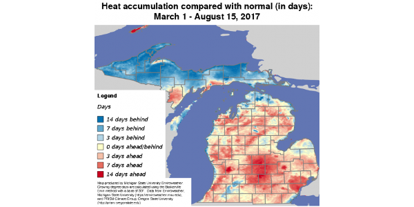 Growing degree-day accumulations around Mich.