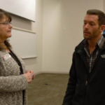 Wade Shipman discusses an agricultural finance seminar at the Nebraska College of Technical Agriculture with Mary Rittenhouse, division chair of NCTA Agribusiness Management Systems. (Crawford/NCTA News)