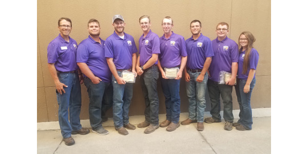 The WIU Weed Science Team includes WIU Associate Professor Mark Bernards and WIU agriculture students (from left) Nathan Hilleson, Tyler Wilson, Ethan Johnson, Luke Merritt, Alex Pembrook, Zach Brewer and Allyson Rumler. (Courtesy of Western Illinois University)