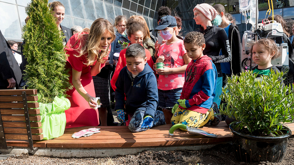 First lady does some gardening