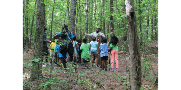 Ranger Josh Gray conducts a program at Clemmons Educational State Forest in Johnston County. (Courtesy of NCDA&CS)