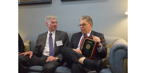 Al Franken received the Golden Triangle Award in Washington, presented to them by Minnesota Farmers Union members. (Courtesy of Minnesota Farmers Union)