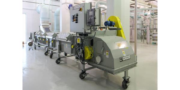 The high-capacity 3i RollerFLO 3i conveyor GSI donated can handle 30,000 to 125,000 bushels of grain per hour.