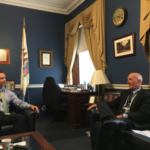 IPPA board member, Dale Weitekamp, visits with Congressman Rodney Davis as his office in D.C. on Wednesday. Weitekamp spoke on behalf of pig farmers in Illinois. (Courtesy of IPPA)