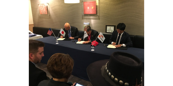 Governor Pete Ricketts participated in a signing ceremony at Sagami Restaurant in Tokyo, Japan on behalf of Nebraska's pork producers. During the ceremony, representatives from Smithfield Foods International Group and Sagami Chain Co. Ltd. signed a Letter of Intent (LOI) designed to expand the business relationship between the two parties. (Courtesy of Office of Governor Pete Ricketts)