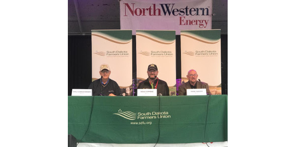 South Dakota Farmers Union (SDFU) hosted an E-30 panel discussion today at the State Fair to talk about the economic and environmental benefits ethanol brings to South Dakota and its agriculture producers. Panelists include, from left to right: Dale Christensen, Board member of Glacial Lakes Energy; Doug Sombke, South Dakota Farmers Union President; Marc Rauch, Co-Founder and Executive Vice President of The Auto Channel. (Courtesy of South Dakota Farmers Union)