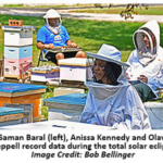 Saman Baral (left), Anissa Kennedy and Olav Rueppel record data during the solar eclipse. (Image credit: Bob Bellinger)