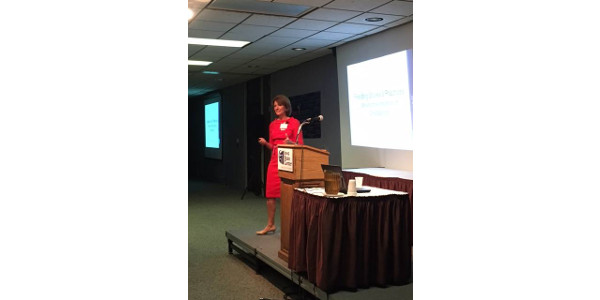 "Jill Castle, MS, RDN, CDN, presented the opening keynote presentation title, ""Feeding Styles and Practices, What is the Influence on Child Eating?"" (Courtesy of Iowa Beef Industry Council)"