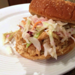 Slow cooker apple cider pulled chicken sandwiches. (University of Illinois Extension Livingston, McLean & Woodford)