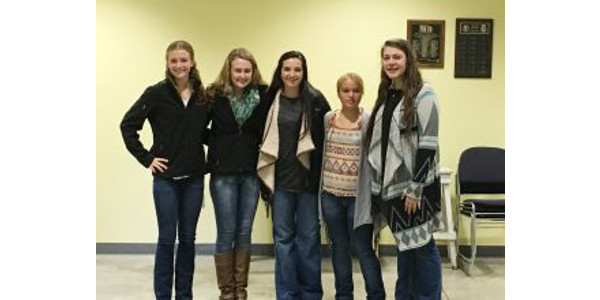 2017-2018 Minnesota Beef Ambassador Team from left to right: Abbey Schiefelbein, Bailee Schiefelbein, Emilee White, Britney Loerzel and Emily Ward. (Courtesy of Minnesota Beef Council)