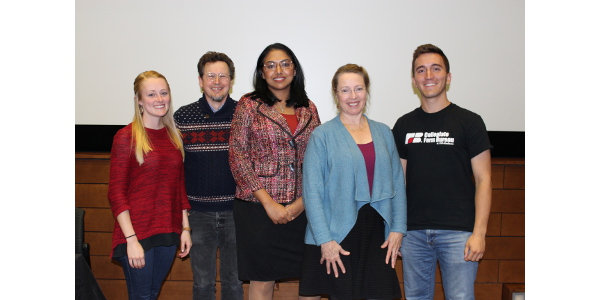 Left to right: Mariah Martin, CFB member and UW-Madison senior; Michael Bell, UW professor of community and enrivonmental sociology; Kavin Senapathy, Forbes and Grounded Parents magazine contributor; Caitilyn Allen, UW professor of plant pathology, and Jordan Gaal, CFB Public Relations Director and UW-Madison senior. (Photo by Jessica Wendt)