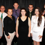 The Youth Education Committee of the Illinois Farm Bureau and its affiliates awarded 10 Illinois 4-H members with its Leadership, Citizenship, and Professionalism Award at a ceremony held Oct. 7 in Champaign. Pictured (front, left to right) are Brittney Muschetto of Will County, Megan Kerschner of Macon County, Adrianna Maxwell of Hamilton County, and Kaley Rouse of Stark County; (back) Zachary Perkins of Kendall County, Austin Brockmann of Boone County, Tanner Scherer of Richland County, and Jenny Webb of Illinois Farm Bureau. Not pictured were Hallie Anderson of Wayne County, Josephine Hubele of White County, and Anne Preston of Macon County. (Courtesy of University of Illinois Extension)