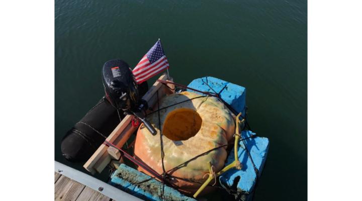 Guy pilots pumpkin across Boston Harbor