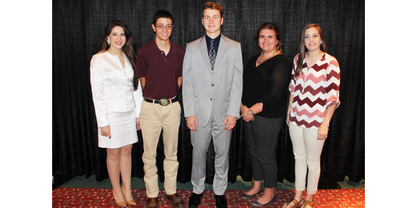 The Illinois 4-H Foundation presented $1,000 scholarships to 4-H members who have demonstrated and maintained a high standard of 4-H excellence and mastery during their membership tenure. The scholarships were presented in a ceremony held Saturday, Oct. 7 in Champaign. Pictured, left to right, Kaley Rouse of Stark County, Alex Hartke of Effingham County, Johnathan Prose of Ogle County, Rachel Miller of Franklin County, and Taylor Hartke of Effinham County. Not present was Katlyn Helton of Logan County, Adrian Austin of Marion County, and Natalie Carlson of Ogle County. (Courtesy of University of Illinois Extension)