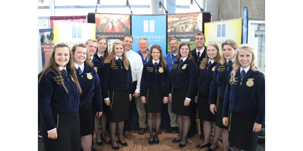The 2017-18 State FFA Officers visited with Investors Community Bank, the Wisconsin FFA Foundation's newest Star Mission Partner, at World Dairy Expo this month. (Courtesy of Wisconsin FFA Foundation)