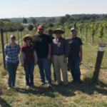 Dr. Chin-Feng Hwang (second from right) and his research team members at Missouri State Fruit Experiment Station in Mountain Grove. (Courtesy of MIssouri State University)
