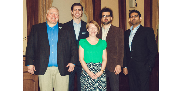 Pictured left to right — Ted Hinton (Hintech), Zack James (Rabbit Tractors), Megan Vollstedt (Accelerator executive director), Amos Petersen (FarrPro) and Arsalan Lodhi (WISRAN). (Courtesy of Iowa AgriTech Accelerator)