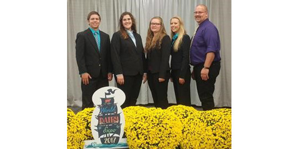 North Dakota's dairy judging team brings home several team and individual awards from the World Dairy Expo. Pictured are, from left: team members Jameson Ellingson, Brooke Kunz, Ivy Klusmann and Sierra Ellingson, and team co-coach Nathan Boehm. (Courtesy of NDSU Extension)