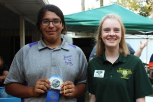 Dominick Trujillo of Decatur won the 2017 Illinois 4-H State Archery Shoot compound bow division held Saturday, Sept. 9 at the Panther Creek Bowhunters Club near Chatham. Pictured with Trujillo (left) is Illinois 4-H Shooting Sports Ambassador Rachel Casey of Woodford County.