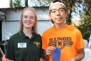 Jeffrey Che of Makanda won the 2017 Illinois 4-H State Archery Shoot recurve bow division held Saturday, Sept. 9 at the Panther Creek Bowhunters Club near Chatham. Pictured with Che (right) is Illinois 4-H Shooting Sports Ambassador Rachel Casey of Woodford County.