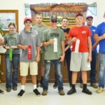 Drew Baxter shot a perfect 100/100 to win the 2017 Illinois 4-H State 4-H Shotgun Shoot held Saturday, Sept. 16 at the Brittany Shooting Park near Bunker Hill. The top ten winners pictured are (front, left to right) Baxter; Tommy Keeshan, second; Cole Gordon, third; Jacob Dies, fourth; Brayden Rohlfs, fifth; (back) Macy Donoho, sixth; Krystof Gojda, seventh; Hunter Robinson, eighth; Cole Tarochione, ninth; and Brandon Batchelder, tenth. Photo by Kate Harding. (Courtesy of University of Illinois Extension)