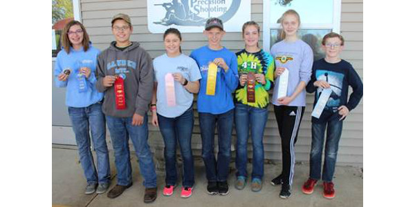 The Illinois 4-H State 4-H Rifle Shoot was at the Central Illinois Precision Shooters near Bloomington. Top finishers in the air rifle division included (left to right) Shandre Willoughby of McLean County, first; Hunter Swanson of DeKalb County, second; Ashley Ledbetter of Rock Island, fourth; Joseph C. of Kendall County, fifth; Renee Gehrke of Ogle County, eighth; Jamie Anderson of McHenry County, ninth; and Knipmeyer of McLean County, tenth. Not pictured were Grace Melvin of McLean County, third; Sydney Lorton of Shelby County, sixth; and Thomas Bennett of DuPage County, seventh. (Courtesy of University of Illinois Extension)