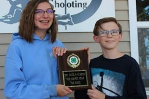 The Illinois 4-H State 4-H Rifle Shoot was held at the Central Illinois Precision Shooters near Bloomington.  McLean County members won the top team award. Pictured with their award are Shandre Willoughby (right) and Paul Knipmeyer.