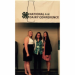 4-H members Kassidee Lentsch (left) of Roberts County and Brianna Schock (right) of McCook County represented South Dakota during the National 4-H Dairy Conference held in conjunction with World Dairy Expo in Madison Wisconsin October 1-5, 2017. They are pictured here with Lauren Hollenbeck (middle), 4-H Youth Program Advisor in Clay, Yankton and Union Counties. (Courtesy of iGrow.org)