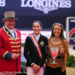 Jessica Springsteen Accepting the Martha Jolicoeur Leading Lady Rider Award during the 2016 National Horse Show. (Courtesy of Annan Hepner, Phelps Media)