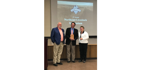 Julie McCaleb, CLA Legislative Affairs Committee Chair (right) and Steve Holdren, CLA Lobbyist (left) present the 2017 Legislator of the Year award to Senator Jerry Sonnenberg (center). (Courtesy of Colorado Livestock Association)