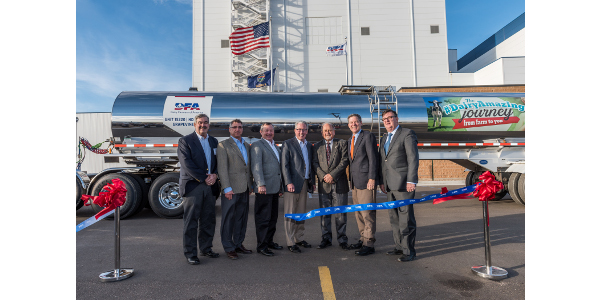 Dairy Farmers of America celebrates the opening of DFA Garden City, a new, state-of-the-art ingredients plant located in Southwest Kansas. Pictured from left to right: Alan Low, SVP of Shambaugh & Son, Dan Senestraro, farmer investor and member of DFA's Board of Directors, Randy Mooney, Chairman, DFA's Board of Directors, Rick Smith, President and CEO at DFA, Melvin Dale, Mayor, Garden City, Kan., Sam Brownback, Governor of Kansas, Alan McEntee, Program Manager, DFA Garden City. (Courtesy of DFA)