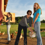 Jennifer Rosencrans, a graduate of 2015 NC Farm School with her daughters. She and husband Ben own Crossings Farm in Lexington, NC. (Courtesy of NC Cooperative Extension)
