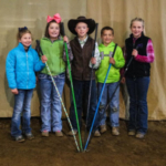 During the Springs Showdown Calf Show the following five beginner showmanship winners include: Champion, Kinsly Altena, George, Iowa; Reserve Champion, Piper Blum, Reliance; third place, Chance Blum, Reliance; fourth place, Teagan Scheel, Alpena and fifth place, Kerstynn Heim, Wessington Springs. (Courtesy of iGrow.org)