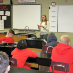University of Missouri medical student Kaitlin Smith speaking to a seventh grade class in West Plains. (University of Missouri Extension)
