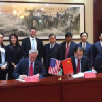 Lt. Governor Mike Foley and Director Wang of Hebei Province Department of Human Resources, along with Hebei Province officials and Nebraska Department of Economic Development representative Cobus Block, sign a memorandum of understanding to build a better relationship between Hebei Province and Nebraska. (Courtesy of Office of Governor Pete Ricketts)