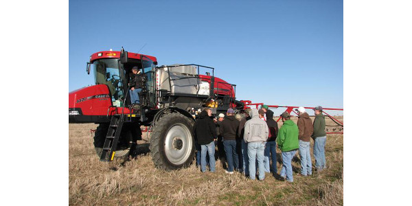 NCTA students learn about a field crop sprayer during a demonstration by Ag Valley Cooperative in Curtis. (Brad Ramsdale photo)