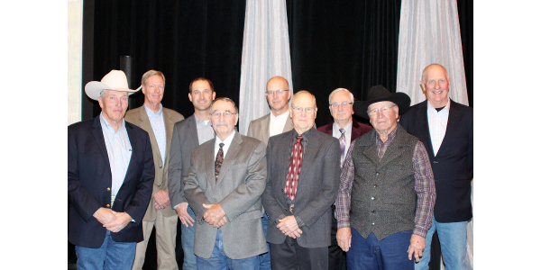 Picture (back row, L to R) are Don Musil, Musil Farms, Blue Rapids; Andy and Raymond Larson, Larson Farms, Green; Roger Caudle, Atchison; Jim Musil, Musil Farms, Blue Rapids; (front row, L to R) Mike Samples, Farmers & Ranchers Livestock, Salina; Philip Phar, Council Grove; Arlan Stakley, El Dorado; and Dennis Huck, Coldwater. (Courtesy of KLA)