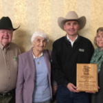 2017 MSCA Cattlemen of the Year with parents Frank & Frosty Schiefelbein and wife Jennifer Schiefelbein. The 2017 Cattlemen of the Year award was sponsored by Artex Manufacturing of Redwood Falls, MN. (Courtesy of Minnesota State Cattlemen's Association)