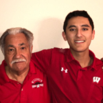 Luciano Barraza, left, will participate in the UW–Madison 2017 winter commencement ceremony largely due to the initiative and perseverance of his grandson, Raul Correa, right, a high school senior in San Antonio, Texas. (Photo: Submitted)