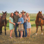 The Schriefer family posed from left to right: Harley (horse) daughter-in-law Cheyenne, son Riley, mother Jodi, father Marc, daughter Cassi and Royal (horse). (Photo courtesy of grandvaleco.com