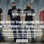 "By pledging your support for biodiesel, you will be entered for a chance to win a meet-and-greet with the DieselSellerz, or stars from Discovery's ""Diesel Brothers."" (Screenshot from MNsoybean.org)"